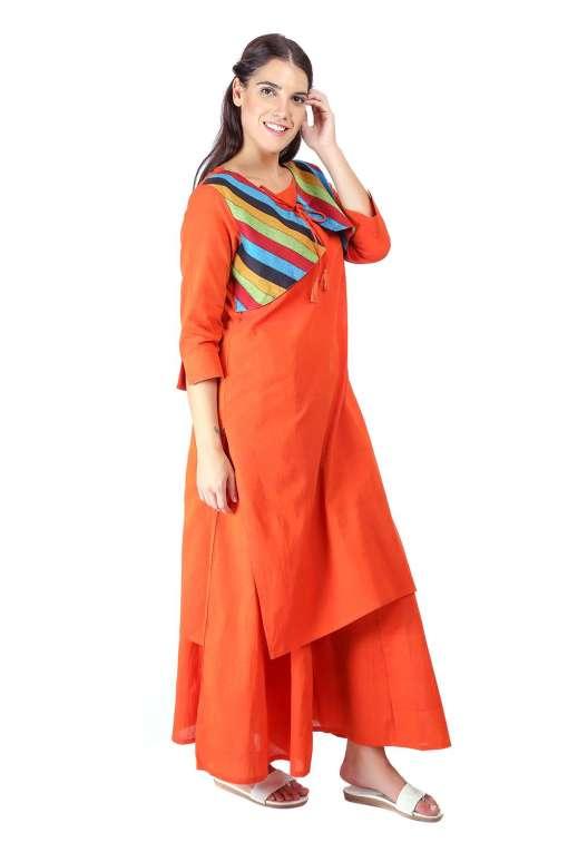 Orange Jacket Handloom Cotton Kurti4