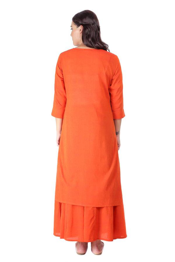 Orange Jacket Handloom Cotton Kurti5