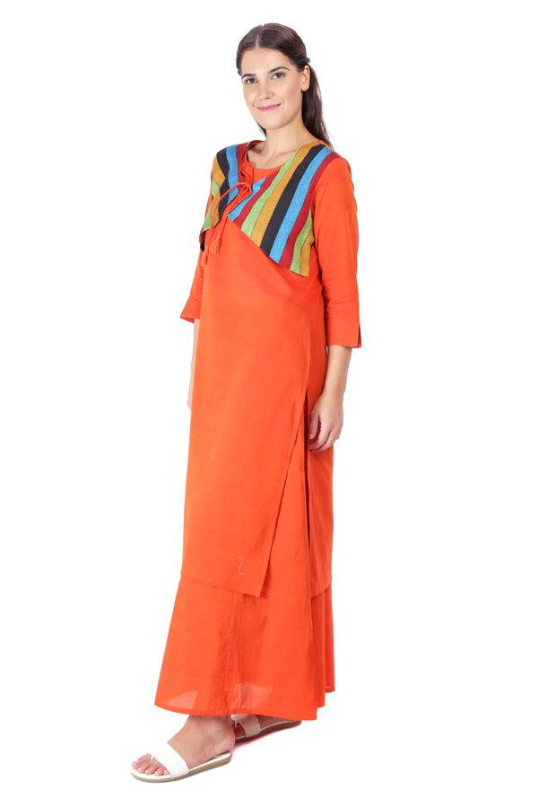 Orange Jacket Handloom Cotton Kurti6