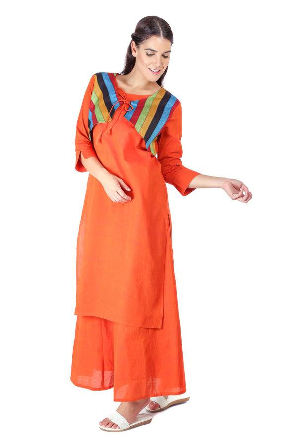 Orange Jacket Handloom Cotton Kurti7