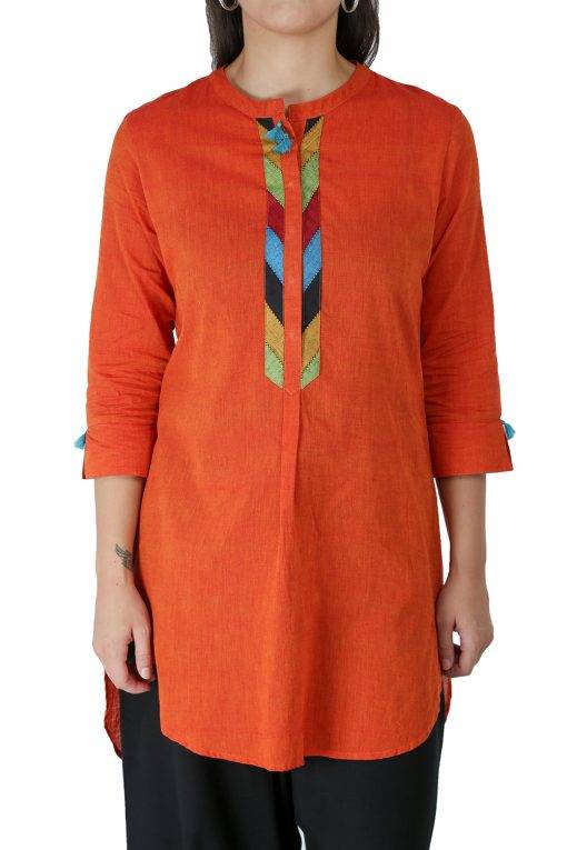 Orange Handloom Kurti1