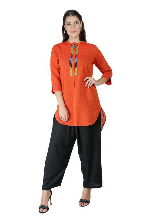 Orange Handloom Kurti2