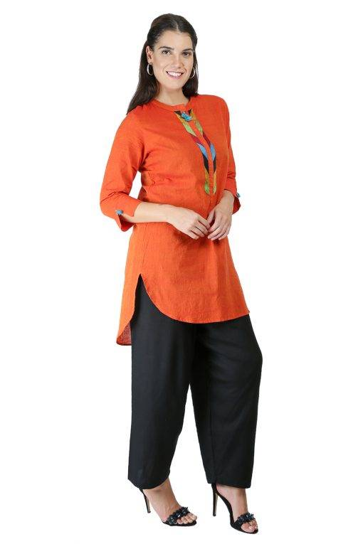 Orange Handloom Kurti6