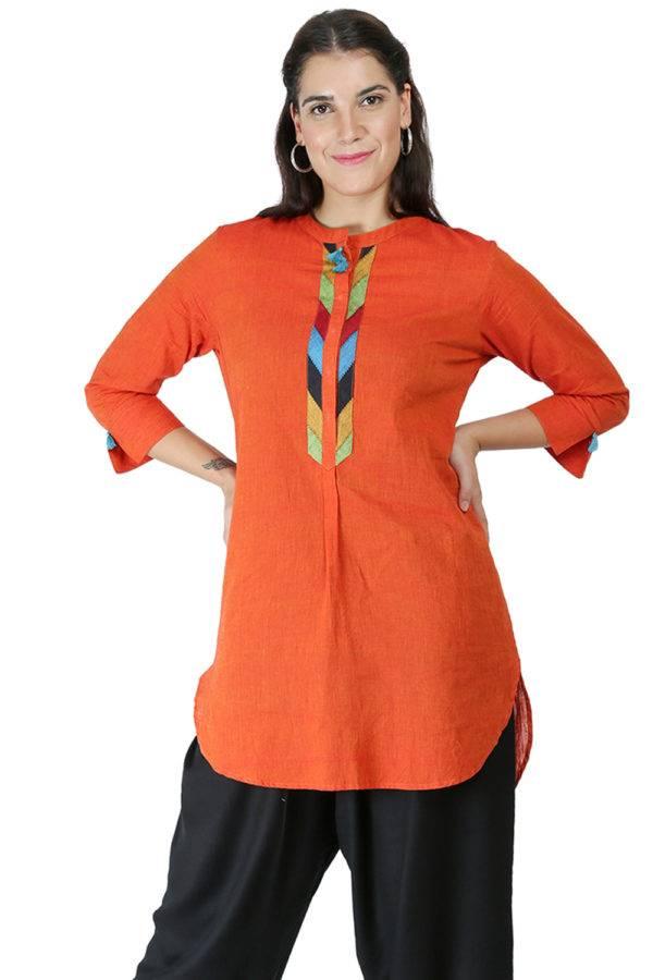 Orange Handloom Kurti8