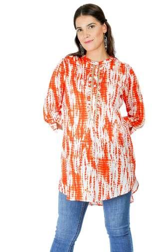 orange tie-dye short kurti2