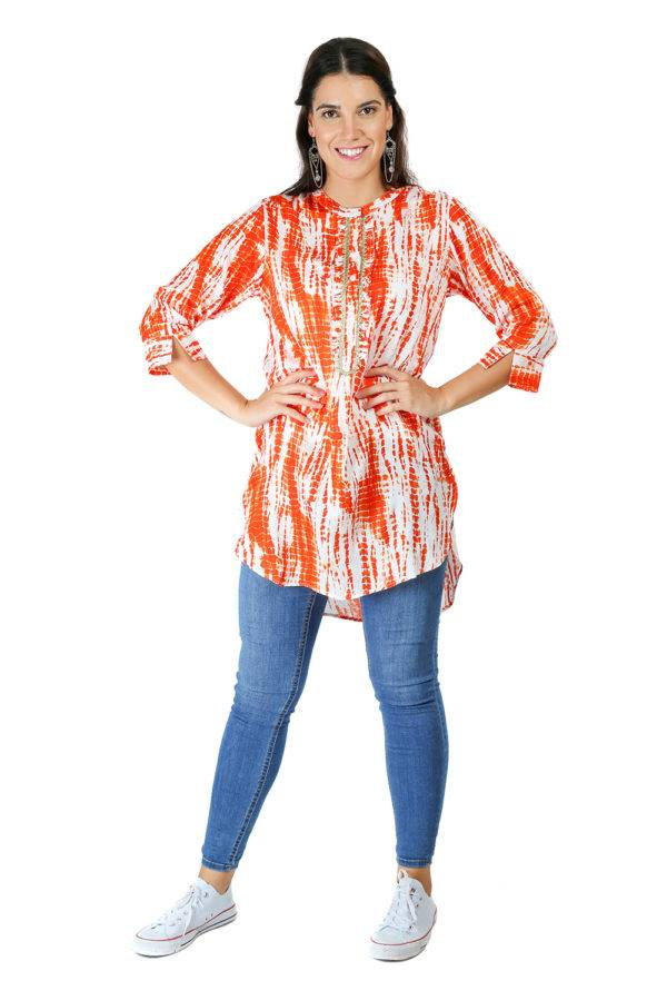 orange tie-dye short kurti4