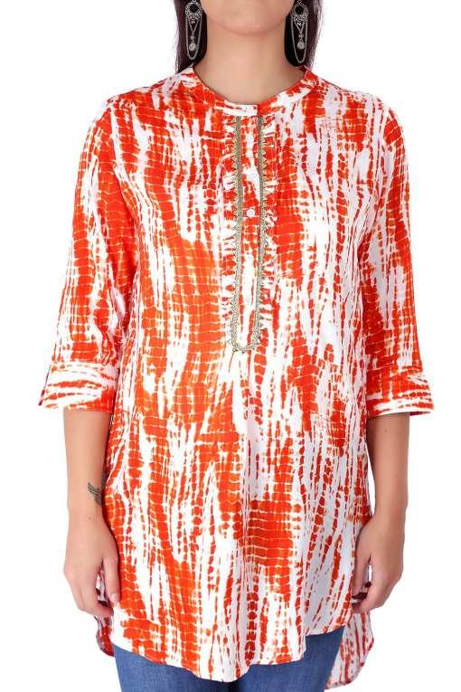 orange tie-dye short kurti5