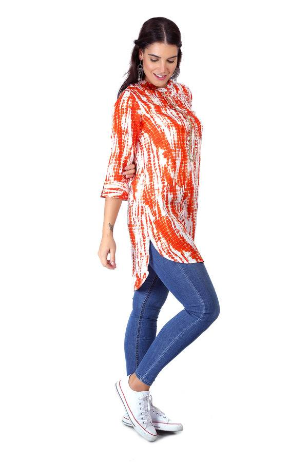 orange tie-dye short kurti7
