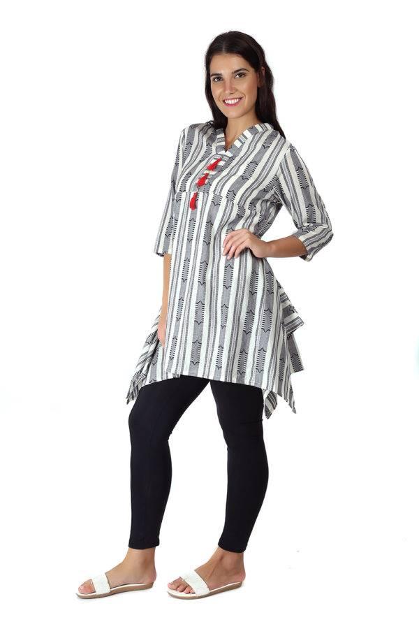 White & grey short kurti 5