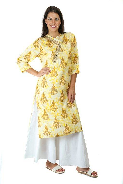 yellow tree print kurti With Overlap neck-1