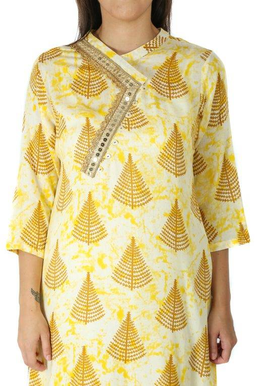 yellow tree print kurti With Overlap neck2