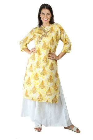 yellow tree print kurti With Overlap neck5