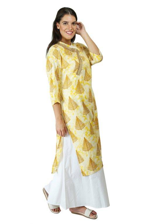 yellow tree print kurti With Overlap neck6