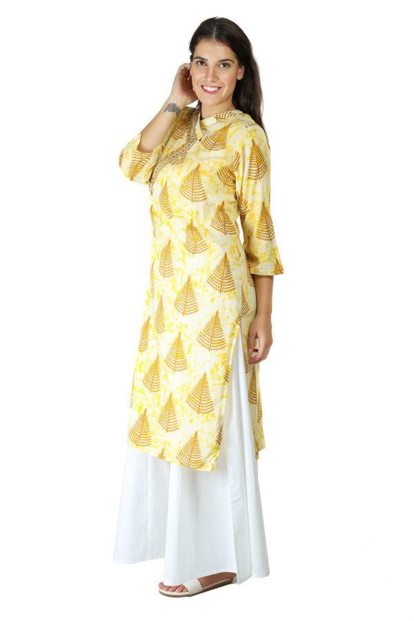 yellow tree print kurti With Overlap neck7