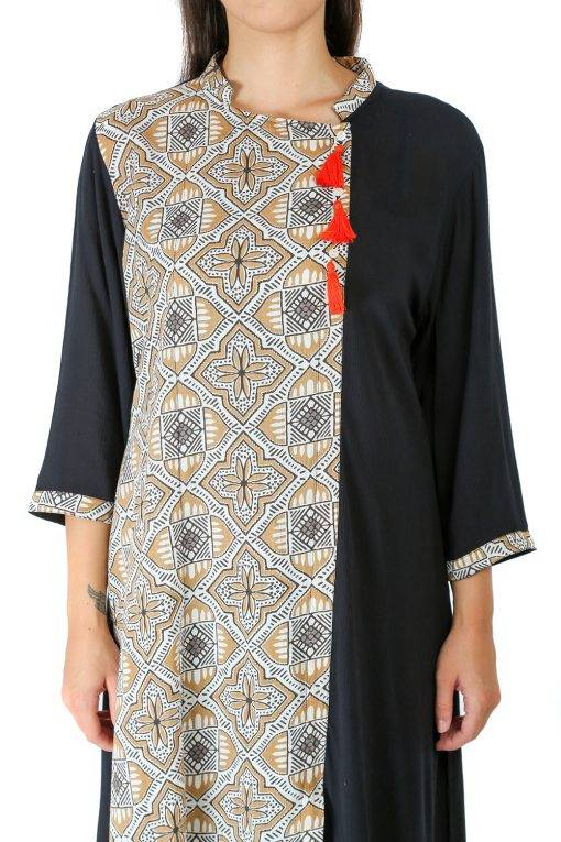 Black Panel Printed Kurti1