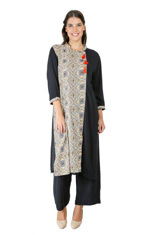 Black Panel Printed Kurti2
