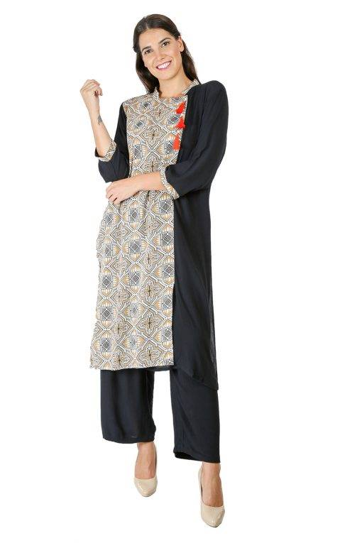 Black Panel Printed Kurti3