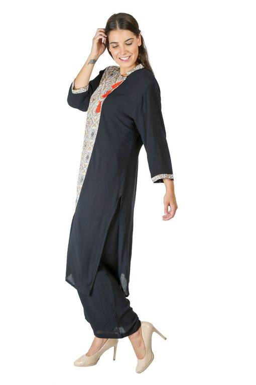 Black Panel Printed Kurti5