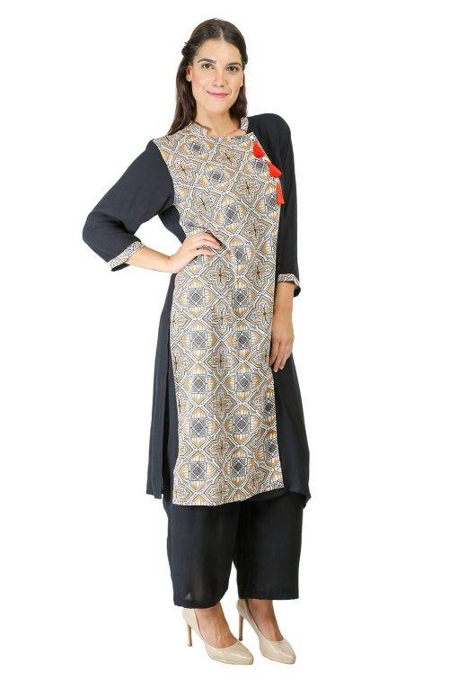 Black Panel Printed Kurti6