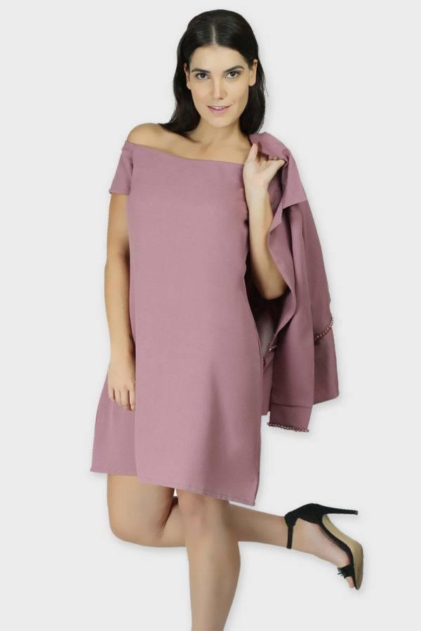 Cold Shoulder Dress & Blazer Co-Ord1