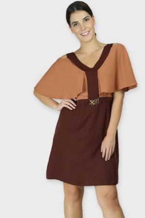 COLOR BLOCK COLD SLEEVES DRESS