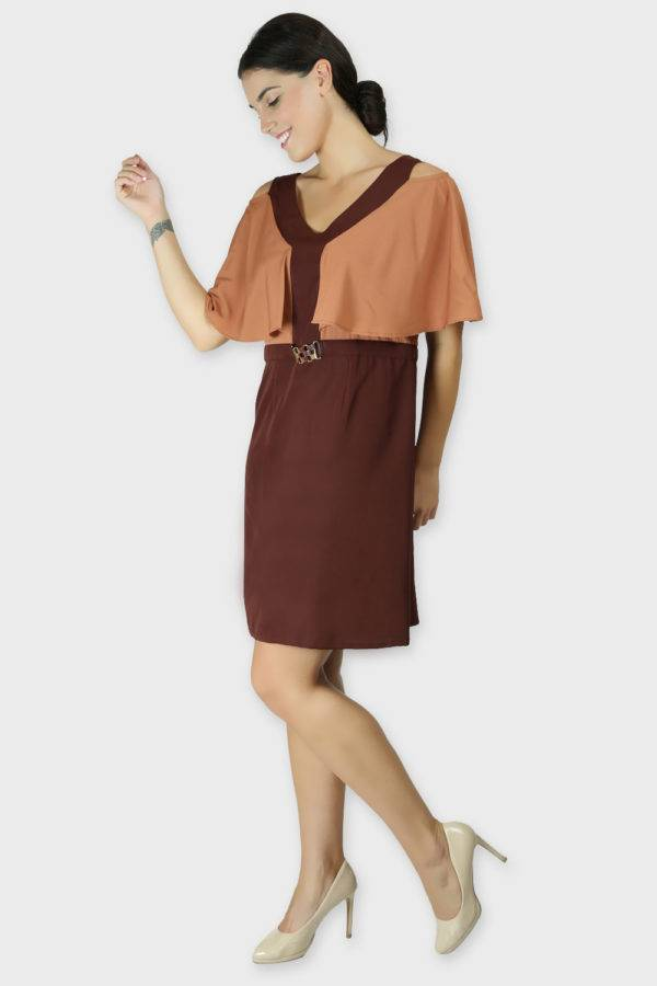COLOR BLOCK COLD SLEEVES DRESS5