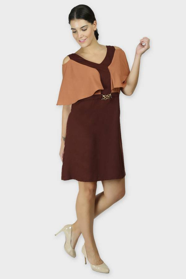 COLOR BLOCK COLD SLEEVES DRESS6