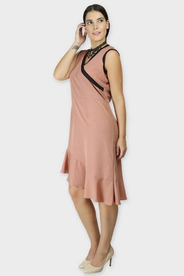LASTINCH Crisscross Neck Assymetric Peach Dress With Pearl Neckless6