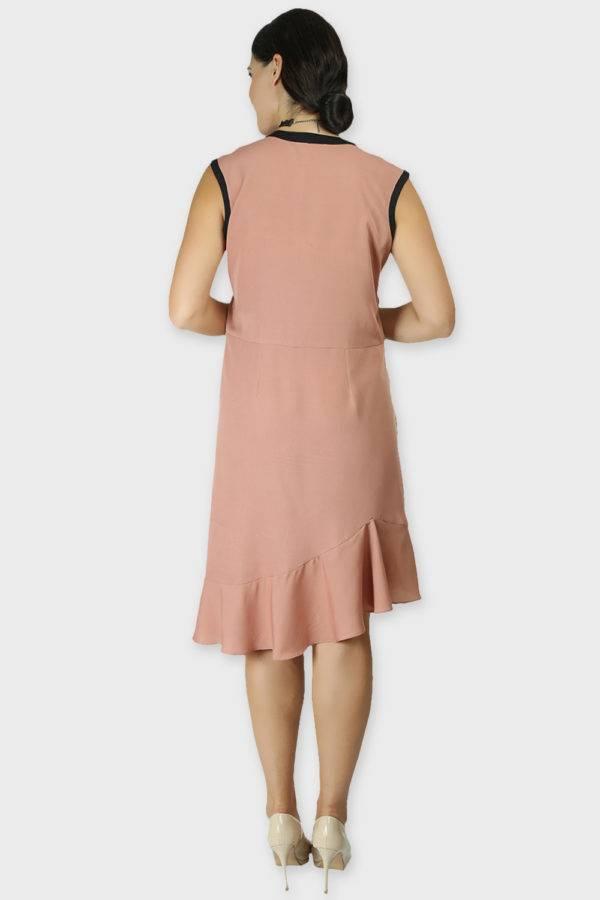 LASTINCH Crisscross Neck Assymetric Peach Dress With Pearl Neckless8