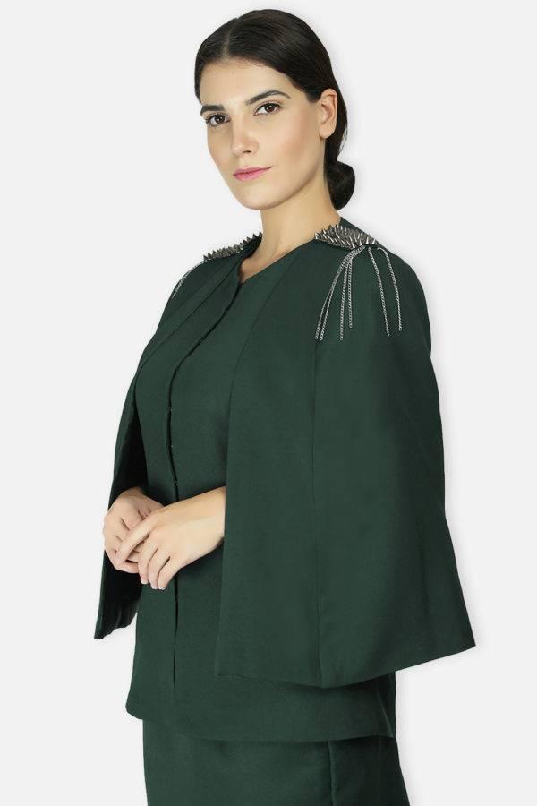 Green Rivet Sequin Cape Jacket1