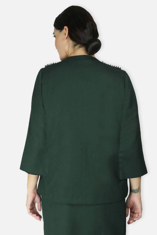 Green Rivet Sequin Cape Jacket2