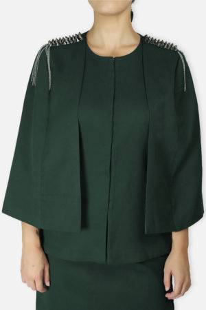 Green Rivet Sequin Cape Jacket3