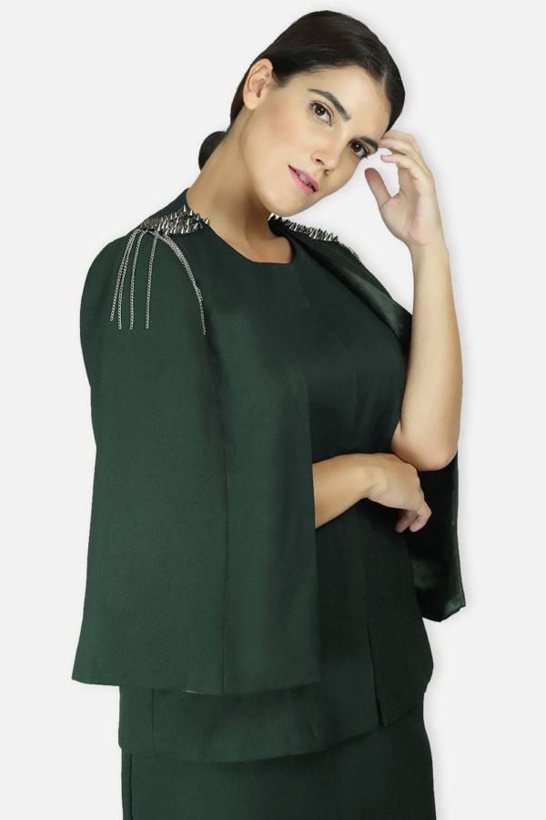 Green Rivet Sequin Cape Jacket4
