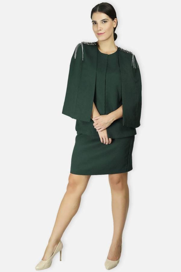 Green Rivet Sequin Cape Jacket5