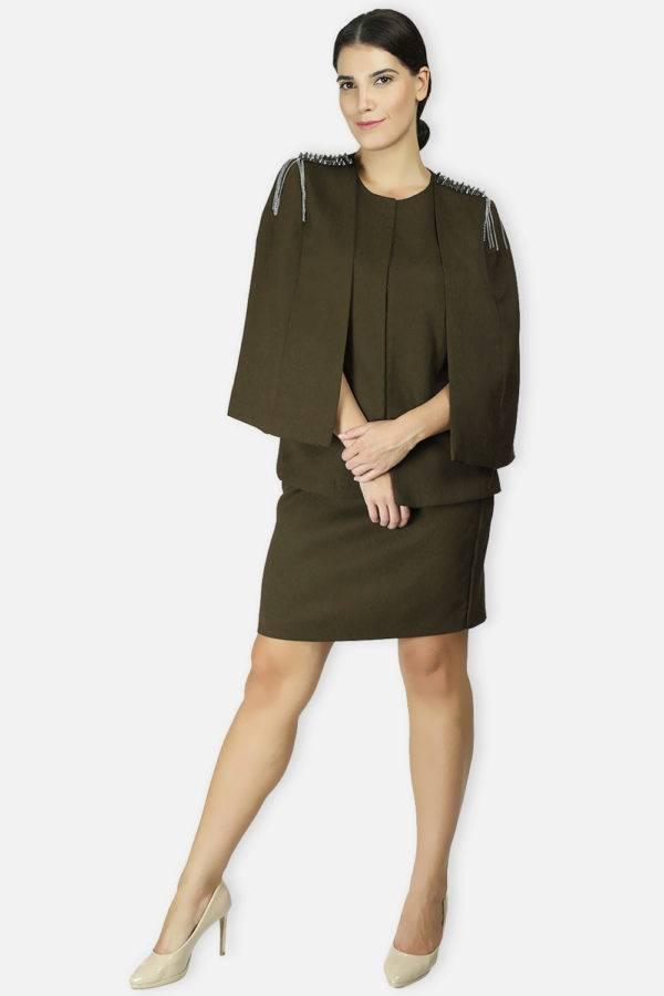 Olive Rivet Sequin Cape Jacket2