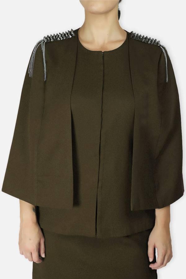 Olive Rivet Sequin Cape Jacket3