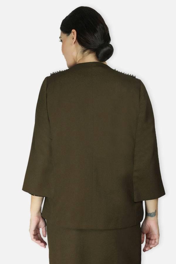 Olive Rivet Sequin Cape Jacket4