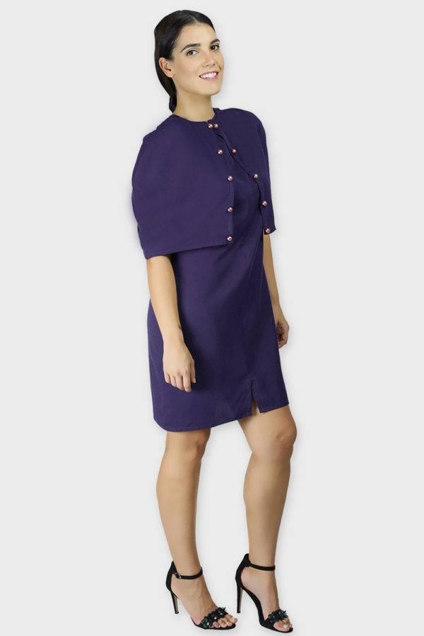 Violet Cape Dress5