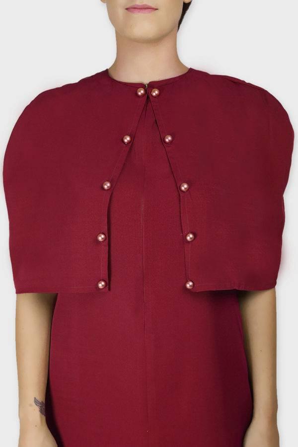 Maroon Cape Dress2