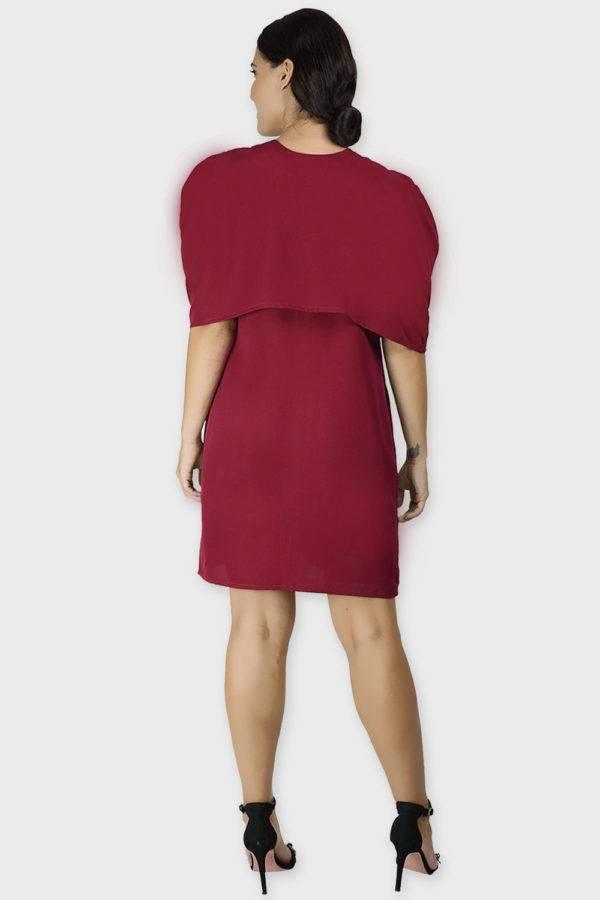 Maroon Cape Dress3