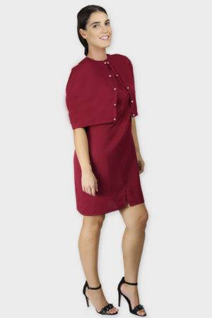 Maroon Cape Dress4