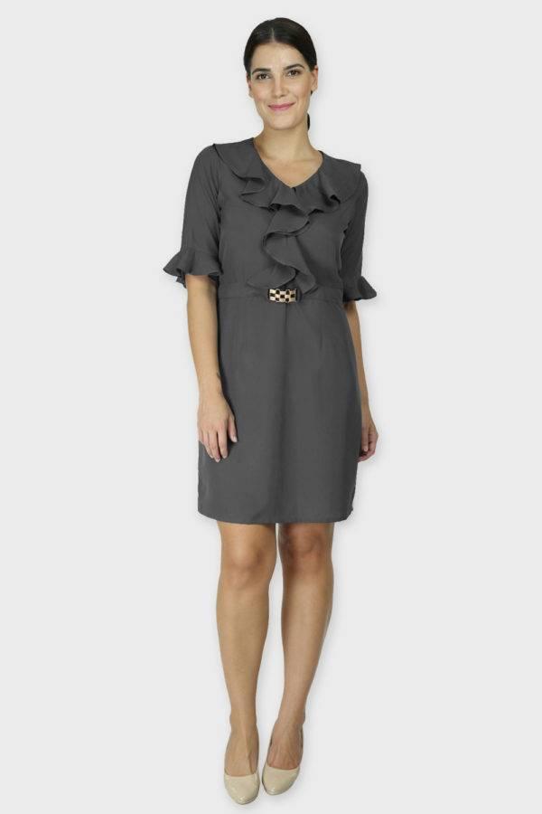 Grey Ruffle Dress With Metal Buckle1