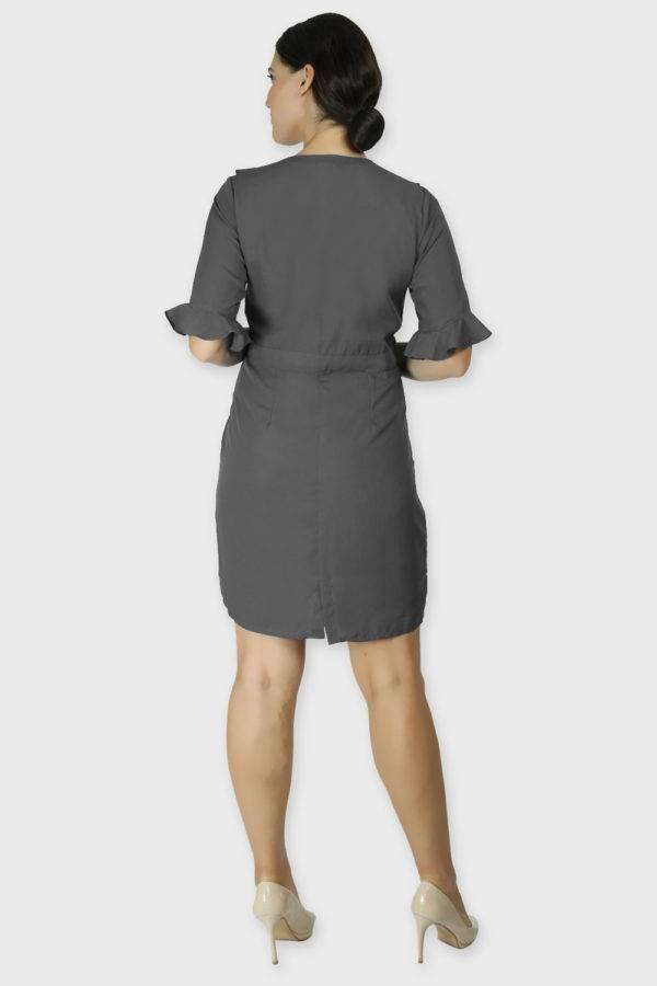 Grey Ruffle Dress With Metal Buckle2