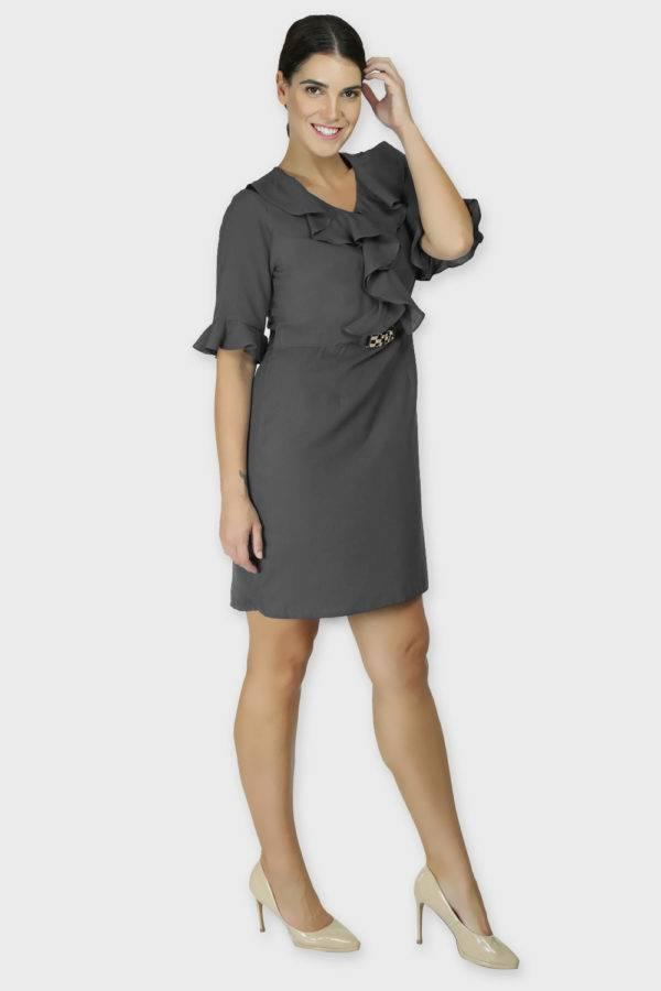 Grey Ruffle Dress With Metal Buckle3