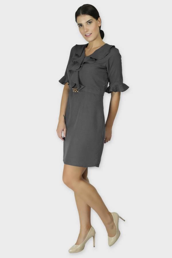 Grey Ruffle Dress With Metal Buckle4