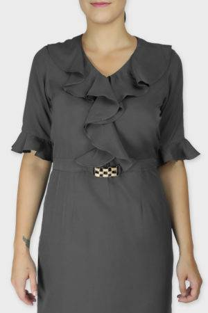 Grey Ruffle Dress With Metal Buckle5