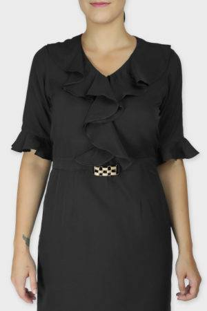 Black Ruffle Dress With Metal Buckle5