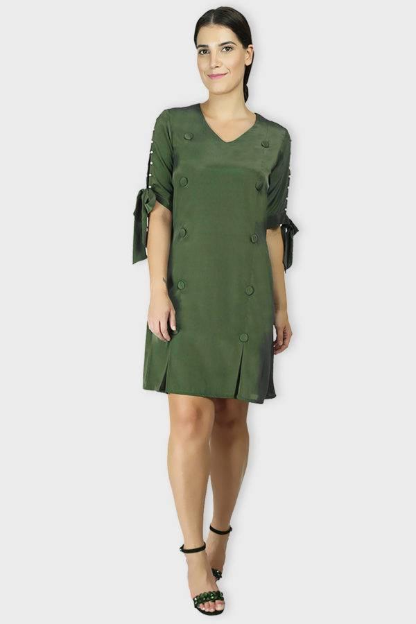 Green Oxforrd Aline Dress6