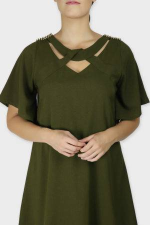 Olive Crisscross Dress1