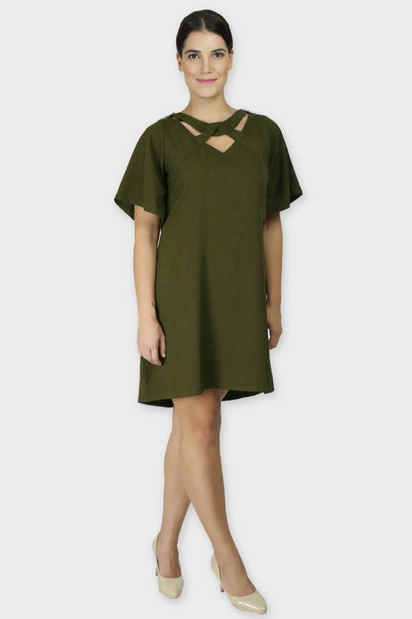 Olive Crisscross Dress3